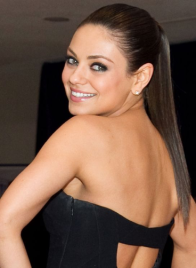 Mila Kunis, ponytail, round face hairstyles, round face celebrities, hairstyles